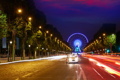 Champs Elysees in Paris and Concorde sunset. At France royalty free stock photos