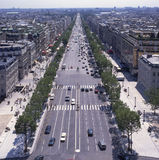 The Champs Elysees. Paris. France. Avenue Champs Elysees. Looking south from top of the Arc de Triomphe. Paris. France Stock Images