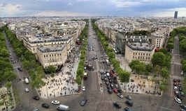 Champs-Elysees in Paris, France. Paris, France - May 13, 2018:View of Paris from the Arc de Triomphe, looking down the Avenue des Champs-Elysees in Paris, France royalty free stock photo