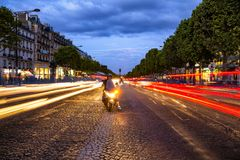 Champs Elysees, paris. Sunset on avenue Champs Elysees, Paris, France royalty free stock photography
