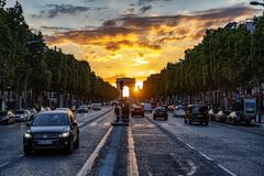Champs Elysees, paris. Sunset on avenue Champs Elysees, Paris, France royalty free stock image
