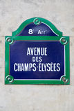 Champs Elysees sign in Paris Royalty Free Stock Image