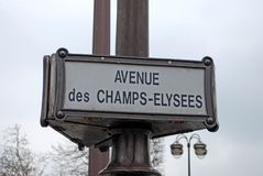 Champs Elysees, Paris. Champs Elysees street sign post in Paris, France stock images