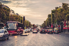 Champs-Elysees street. Full of cars. Paris, France stock photos