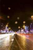 Champs-Elysees street at night in Paris Stock Photography