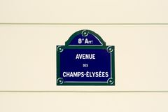 Champs-Elysees street plate. Street plate on the Champs-Elysees avenue - Paris, France Stock Photo