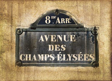Champs Elysees street plate, Paris, vintage process. Champs Elysees street plate, Paris, vintage textured sepia process stock photo