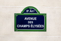 Champs Elysees street sign. The Avenue des Champs Elysees street sign,  situated in the 8th arrondissement of Paris, France. One of the most famous streets in Stock Photo