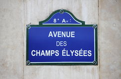 Champs Elysees street sign in Paris. France stock images