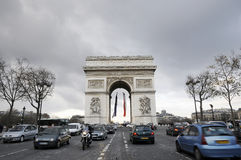 Champs Elysees street and triumphy arch Stock Images