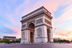 Champs-Elysees at sunset in Paris. Arch of Triumph, Champs-Elysees at sunset in Paris Royalty Free Stock Photos