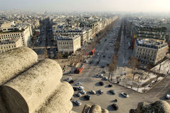Champs Elysees from Top of Arc de Triomphe. Spectacular view of the famous Avenue Champs-Elysees in Paris, from the top of the Arc de Triomphe in the winter Stock Images