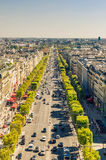 Champs Elysees. View of champs elysees boulevard, concorde place and Louvre museum as seen from Triumph arch in Paris stock images