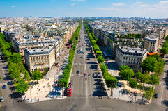 The Champs-Elysées seen from the Arc de Triomphe. Stock Photo