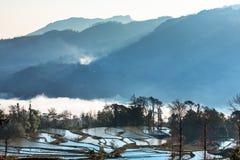 Champs en terrasse dans le paysage de Yunnan Photos libres de droits