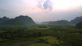 Champs et forêts verts contre des collines dans la vue aérienne de brouillard banque de vidéos