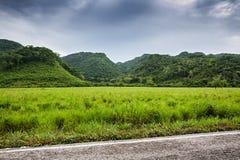 Champs et montagnes verts avec le ciel déprimé avant pluie Images stock