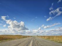 Champs jaunes sous un ciel bleu dramatique avec les nuages blancs voisins la colonie du grec ancien de Histria, sur les rivages d Image libre de droits