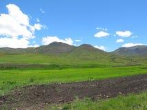 Champs labourés et verts à la vallée d'Avola de Drakensberg du sud Images stock