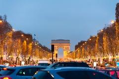 Champs-Élysées at night Stock Photo