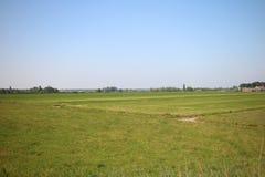 Champs, routes, voies pour bicyclettes et canaux le long de la digue du Hollandsche IJssel dans Moordrecht, Pays-Bas photographie stock