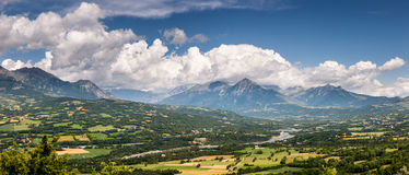 Champsaur Valley and Drac River with clouds, French Alps Royalty Free Stock Image
