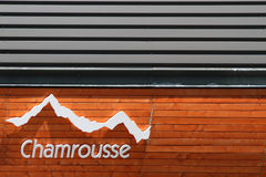 Chamrousse logo. Chamrousse ski resort prepares to welcome a stage of Tour de France. Tour de France is the biggest professional cyclism race in the world Stock Image