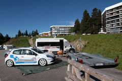 Chamrousse resort before the race. CHAMROUSSE, FRANCE, August 20, 2015 : The mountain resort prepares itself for the annual uphill car race, counting for French Royalty Free Stock Photo