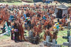 圣胡安Chamula公墓,恰帕斯州,墨西哥 库存图片