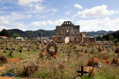 圣胡安Chamula,恰帕斯州,墨西哥公墓  免版税库存图片