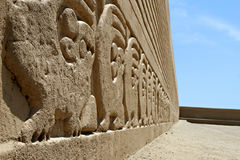 Chan Chan Friezes. Ancient frieze carvings at the site of Chan Chan in Peru stock images