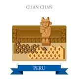 Chan Chan in Trujillo Peru vector flat attraction landmarks royalty free illustration