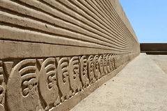 Chan Chan Wall Friezes. The ancient wall carvings of Chan Chan Ruins in Peru royalty free stock image