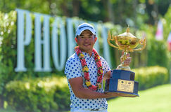 Chan Shih-chang of Chinese Taipei the winner of king's Cup 2016 at Phoenix Gold Golf & Country Club Pattaya. CHONBURI - JULY 31 : Chan Shih-chang of royalty free stock photos