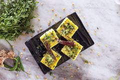 Chana dal dhokla. Is a healthier version of dhokla made from chana dal Stock Photography