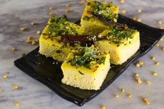 Chana dal dhokla. Is a healthier version of dhokla made from chana dal Stock Image