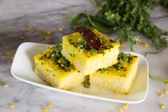 Chana dal dhokla. Is a healthier version of dhokla made from chana dal Stock Photo