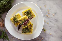 Chana dal dhokla. Is a healthier version of dhokla made from chana dal Stock Photos