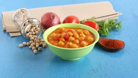 Chana Dal Masala Indian Vegetarian Food en zijn Ingrediënten Stock Fotografie