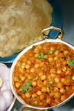 Chana masala. With poori studio table top Royalty Free Stock Photo