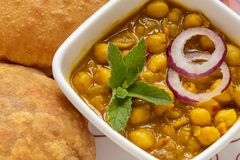 Chana Masala with Puri Indian Food, selective focus. Chana Masala with Puri Indian Food dish, selective focus stock image