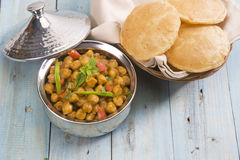 Chana Masala with Puri Stock Images