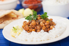 Chana masala with rice Stock Images