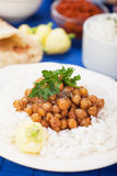Chana masala with rice Royalty Free Stock Images