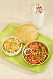Chana Masala or Spicy Chick Peas with Bhature Stock Image