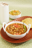 Chana Masala or Spicy Chick Peas with Bhature and Buttermilk Stock Photos