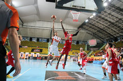 Chanachon Klahan #91 jump to the shot in an ASEAN Basketball League  Stock Photo