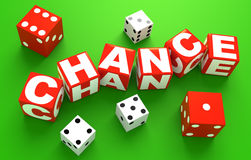 Chance. 3D rendered illustration of red, dice-like cubes spelling the word chance with white letters, on casino green, along some red and white dice randomly stock illustration