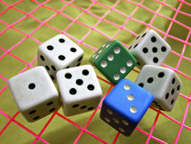 Chance. Dice used in european board games Royalty Free Stock Photo