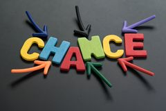 Chance can change life or career path, job or work journey conce. Pt, colorful arrows pointing to the word CHANCE at the center on black chalkboard, motivation Stock Image